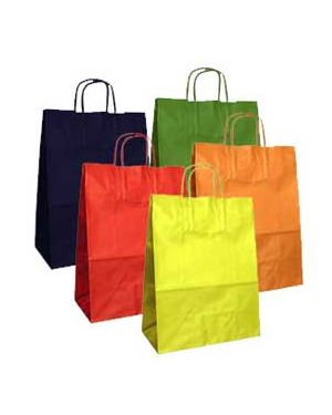 Blister 25 shoppers carta kraft 26x11x35cm twisted colori assortiti 79917 8029307079917 79917 by Cartabianca