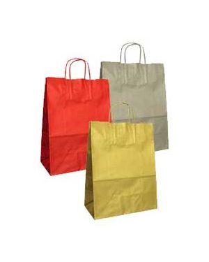 Blister 25 shoppers carta kraft 26x11x35cm twisted assortiti colori natalizi 79993 by Cartabianca
