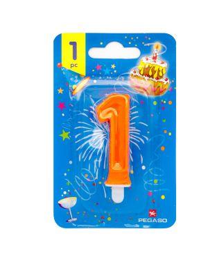 Blister candelina n°1 arancio fluo 7cm pegaso PB922FLUOMD-1