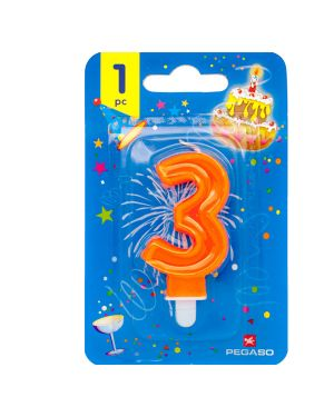 Blister candelina n°3 arancio fluo 7cm pegaso PB922FLUOMD-3