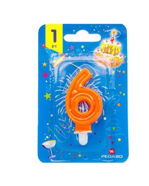 Blister candelina n°6 arancio fluo 7cm pegaso PB922FLUOMD-6