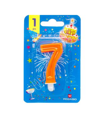 Blister candelina n°7 arancio fluo 7cm pegaso PB922FLUOMD-7 8001619118171 PB922FLUOMD-7