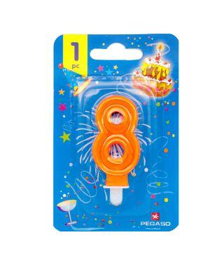 Blister candelina n°8 arancio fluo 8cm pegaso PB922FLUOMD-8