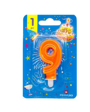 Blister candelina n°9 arancio fluo 8cm pegaso PB922FLUOMD-9