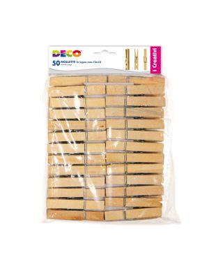 Mollette in legno busta da 50pz dim. 72x10mm cwr 11689 8004957116892 11689