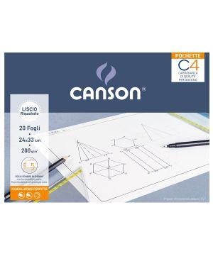 Album pochette C4 carta da disegno 24x33cm 200gr 20fg liscio riquadrato Canson CONFEZIONE DA 20 400089597 by Canson