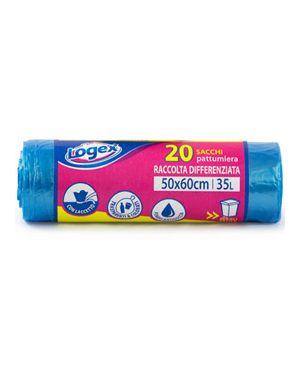 20 Sacchetti immondizia 50x60cm 35Lt 9µ Azzurro trasp. Logex C5LX-3550