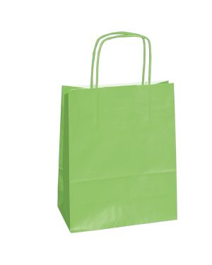 25 shoppers carta kraft 14x9x20cm twisted verde mela 79818