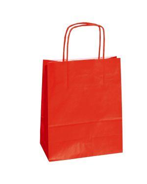 25 shoppers carta kraft 14x9x20cm twisted rosso 78330