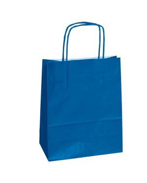 25 shoppers carta kraft 14x9x20cm twisted blu 79825