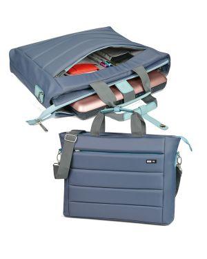 Cartella city time in nylon 42x33x10cm grigio - azzurro niji 61315 8002787613154 61315