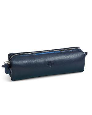 Bustina c - cerniera in vera pelle 18x6x5cm blu niji 65059 8002787650593 65059