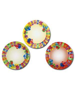 10 piatti carta plastificata diam. 23cm buon compleanno colori ass. pegaso PL-500235 8001619500235 PL-500235