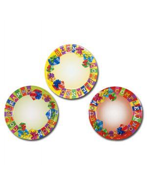10 piatti carta plastificata diam. 18cm buon compleanno colori ass. pegaso PL-510234 8001619510234 PL-510234