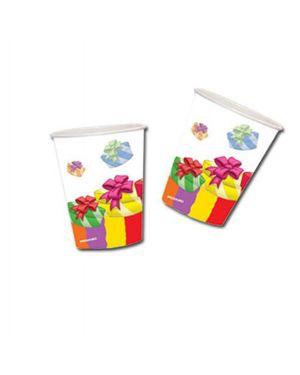 10 bicchieri in carta 200cc buon compleanno colori assortiti pegaso PL-520233 8001619520233 PL-520233