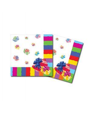 20 tovaglioli 3 veli 33x33cm buon compleanno colori assortiti pegaso PL-530232 8001619530232 PL-530232