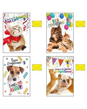 Biglietto auguri buon compleanno animali c/ruota num. 4 soggetti ass. kartos CONFEZIONE DA 12 7544002