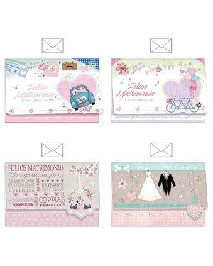 Biglietto auguri matrimonio portasoldi 4 soggetti ass. kartos CONFEZIONE DA 12 17983701