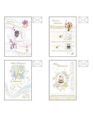 Biglietto auguri matrimonio 4 soggetti ass. kartos CONFEZIONE DA 12 17982601