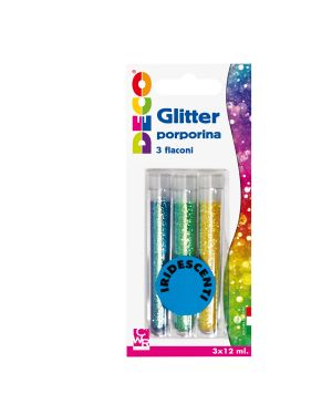 Blister glitter 3 flaconi grana fine 12ml colori assortiti iridescenti cwr 11593 8004957115932 11593