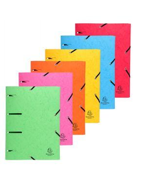 Cartellina 3 lembi forata c - elastico colori ass. cartoncino lustre' punchy 447100E 3130634471000 447100E by Exacompta