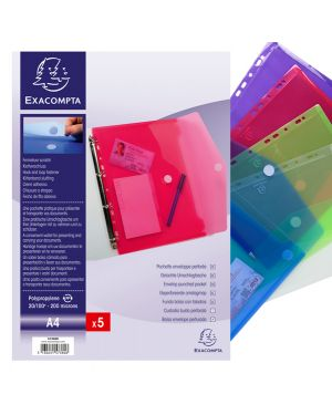 Busta forata c - chiusura in velcro in pp colorato f.to 24x32cm per a4 exacompta 57380E 82468A 57380E