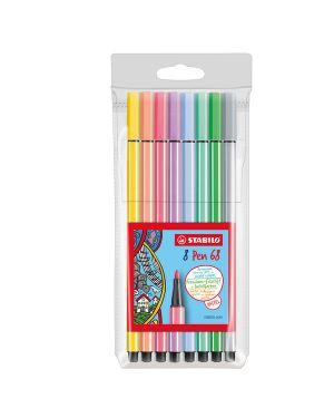 Astuccio 8 pennarelli stabilo pen 68 colori pastelli 68/8-01 4006381507882 68/8-01