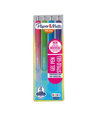 Astuccio 4 penna sfera scatto inkjoy gel 0,7mm rosa - lime - viola - blu gr papermate 1978321 3501179783215 1978321