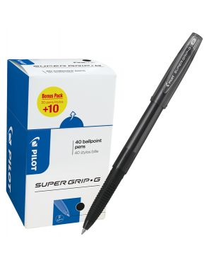 Value pack 40pz penna sfera Supergrip G c/cappuccio nero punta fine 0.7mm Pilot 6