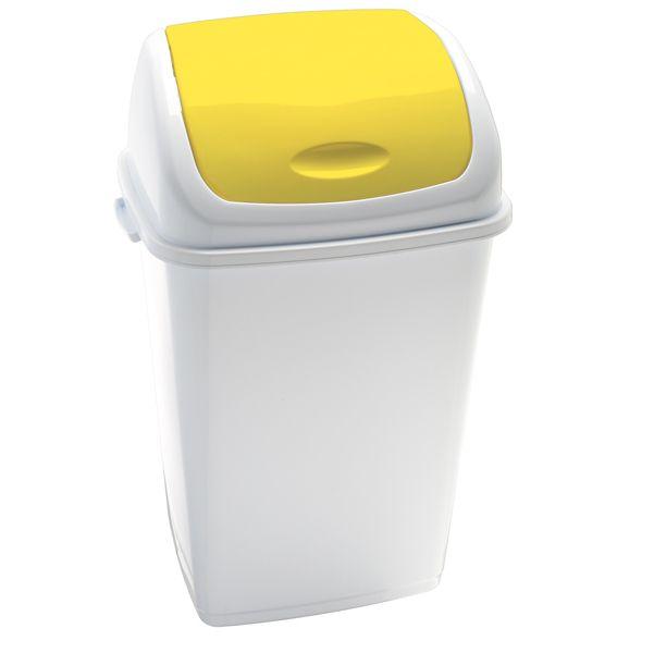 Pattumiera a basculante 50lt rif basic bianco - giallo 909056 8056324532460