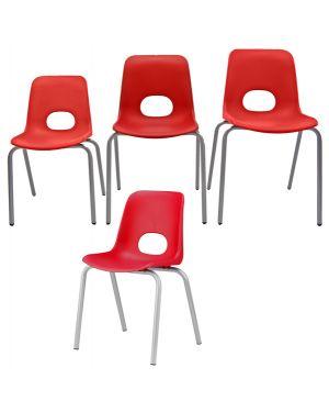 Seduta piccola in ppl h38cm rosso teddy serie school TYP-RO