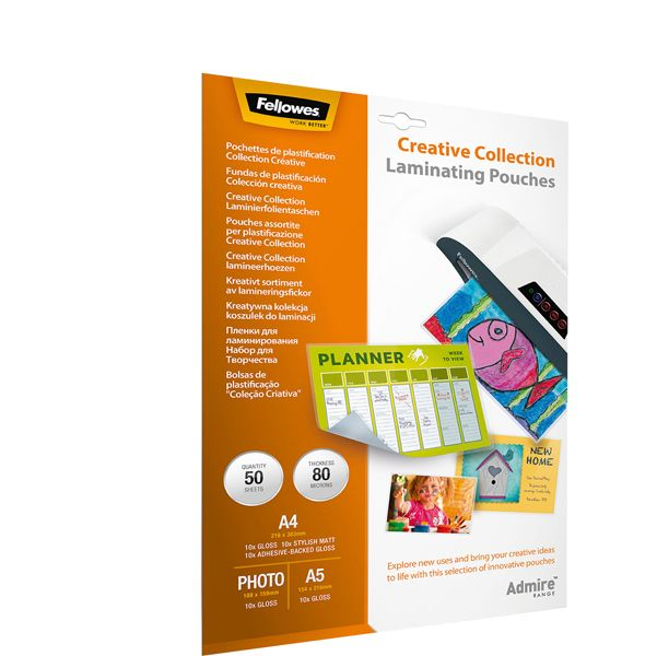 Scatola 50 pouches creative collection admire fellowes 5602301 by Fellowes