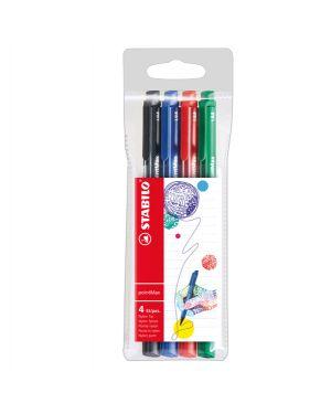 Astuccio 4 pennarelli point max punta 0,8mm blu - nero - rosso - verde stabilo 488/4 4006381503655 488/4