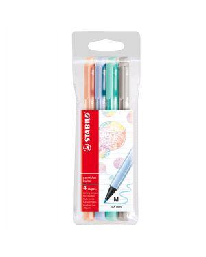 Astuccio 4 pennarelli point max punta 0,8mm colori pastel stabilo 488/4-02 4006381519694 488/4-02