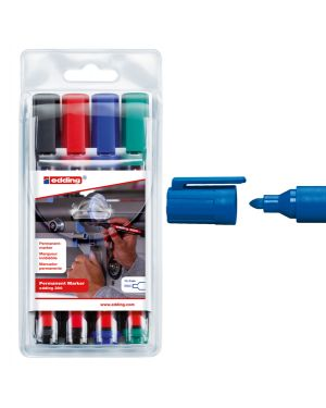 Astuccio 4 marcatore permanente 300 punta conica colori assortiti edding 4-300 4S