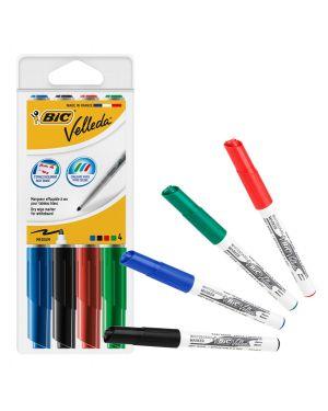 Stuccio 4 pennarelli velleda 1741 punta tonda whiteboard colori assortiti bic® 1199001744