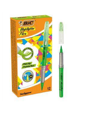 Scatola 12 evidenziatori flex highlighter verde bic 949868 3086123494619 949868 by Bic