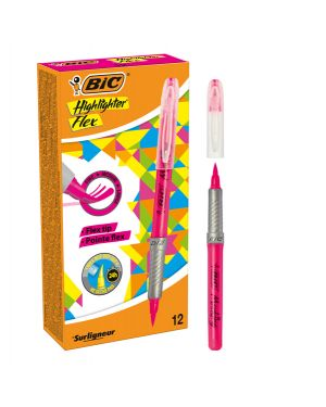Scatola 12 evidenziatori flex highlighter rosa bic 949894 3086123494879 949894 by Bic