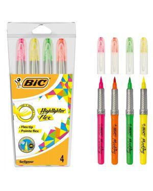 Astuccio 4 evidenziatori flex highlighter colori assortiti bic 950470 3086123498587 950470 by Bic