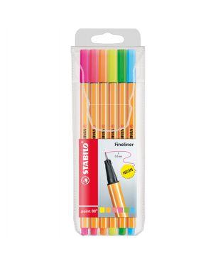 Astuccio 6 pennarelli point 88 colori neon assortiti 88 - 6-1 stabilo 88/6-1 4006381493451 88/6-1