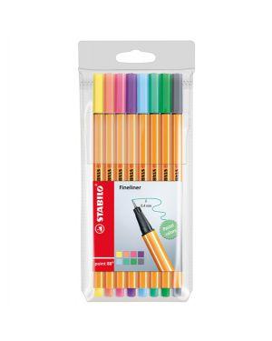 Astuccio 8 pennarelli point 88 colori pastel assortiti 88 - 8-01 stabilo 88/8-01 4006381493499 88/8-01
