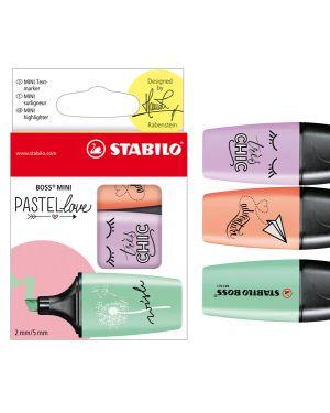 Astuccio 3 evidenziatori stabilo boss mini pastellove verde - glicine - rosa 07/03-47 4006381514453 07/03-47 by Stabilo