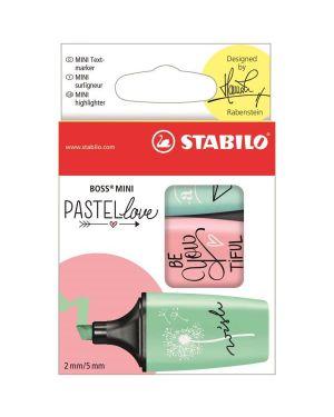 Astuccio 3 evidenziatori stabilo boss mini pastellove verde - rosa - celeste 07/03-57 4006381514477 07/03-57