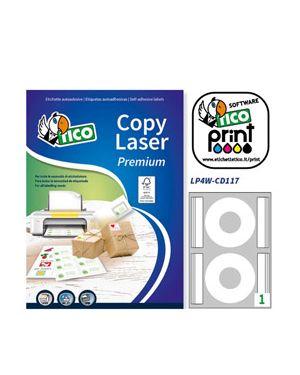Etichetta adesiva lp4w bianca opaca a4 100fg cd Ø117mm (2et - fg) laser tico LP4W-CD117 8007827270601 LP4W-CD117