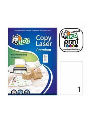 Etichetta adesiva lp4w bianca 100fg a4 210x297mm (1et - fg) laser tico LP4W-210297 8007827290081 LP4W-210297