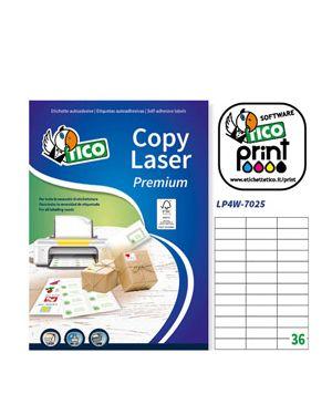Etichetta adesiva lp4w bianca 100fg a4 70x25mm (36et - fg) laser tico LP4W-7025 8007827290210 LP4W-7025