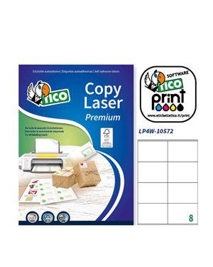 Etichetta adesiva lp4w bianca 100fg a4 105x72mm (8et - fg) laser tico LP4W-10572 8007827290043 LP4W-10572
