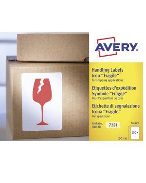 """Rotolo da 200 etichette con icona """"Fragile"""" 74x100m Avery 7251"""
