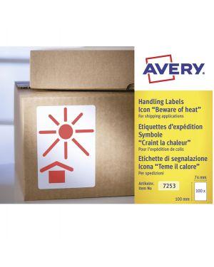 """Rotolo da 200 etichette con icona """"teme il calore"""" 74x100m avery 7253  7253 by Avery"""