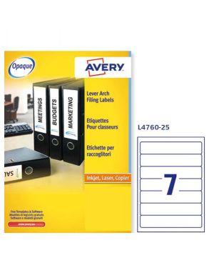 Etichetta adesiva l4760 bianca coprenti 25fg a4 192x38mm (7et/fg) avery L4760-25